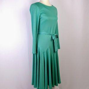 Vintage 60's Long Sleeve Green Midi Dress Size 6-8